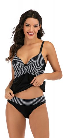 Hualong Sexy Strap Striped Plus Size Swimwear Tankinis