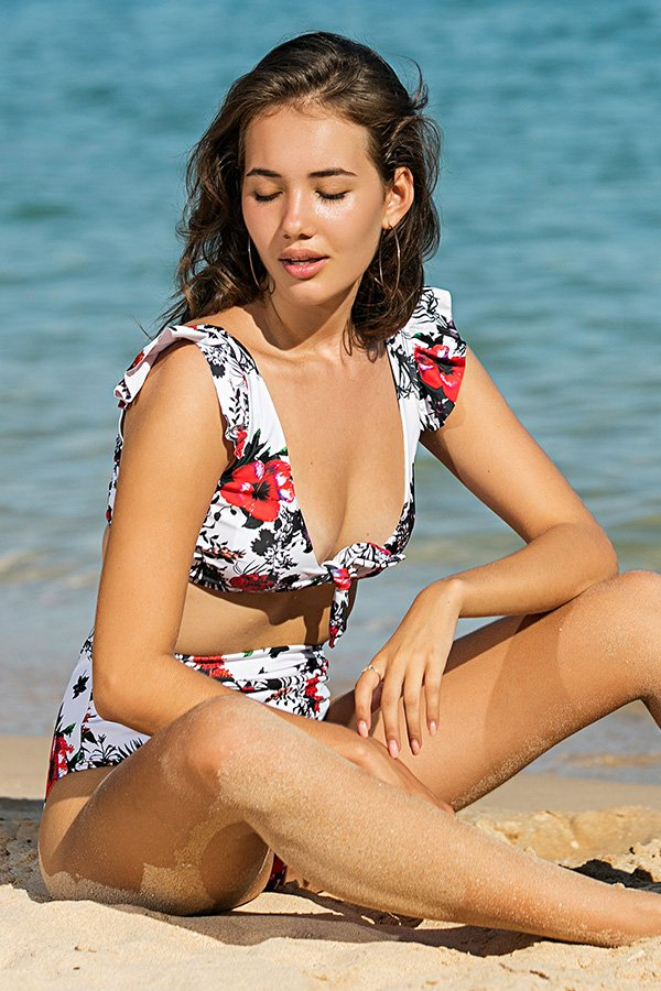Hualong Sexy Tie Front Printed High Waisted Bikini Set