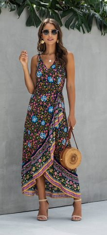 Hualong Sexy V Neck Long Floral Spaghetti Strap Dress