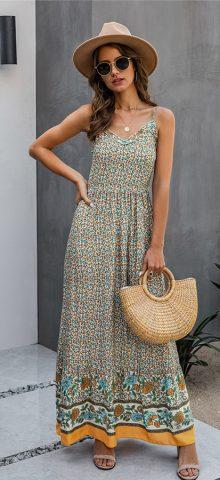 Hualong Sexy V Neck Printed Apricot Spaghetti Strap Maxi Dress