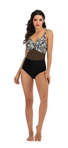 Hualong Sexy Women Printed Mesh Sheer One Piece Swimsuit