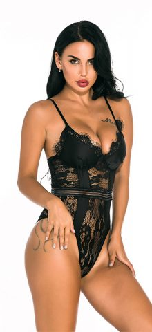 Hualong Sexy Women Strap Black Lace Underwire Bodysuit