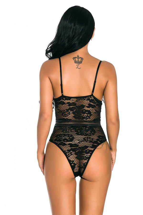 Hualong Sexy Women Strap Black Lace Underwire Bodysuit