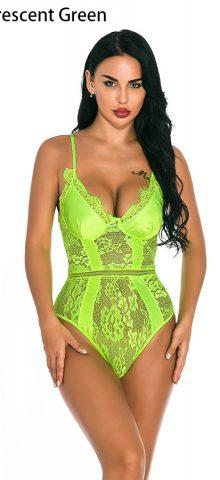 Hualong Sexy Women Strap Light Green Lace Underwire Bodysuit