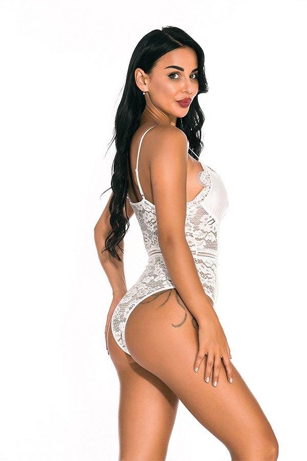 Hualong Sexy Women Strap White Lace Underwire Bodysuit