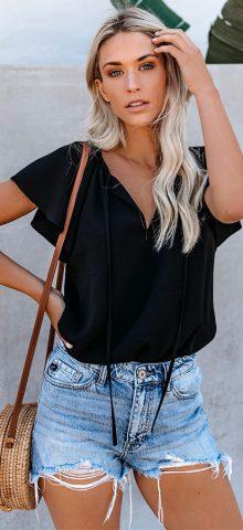 Hualong Women Cute Short Sleeve Black V Neck Top