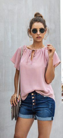 Hualong Women Cute Short Sleeve Ladies Pink Tops