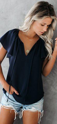 Hualong Women Cute Short Sleeve V Neck Navy Blue Tops