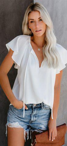 Hualong Women Cute Short Sleeve White V Neck Top