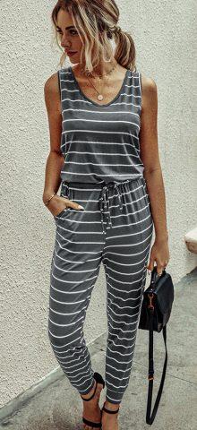 Hualong Women Cute Sleeveless Grey And White Striped Jumpsuit