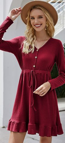 Hualong Cute Button Front Wrap Burgundy Long Sleeve Short Dress