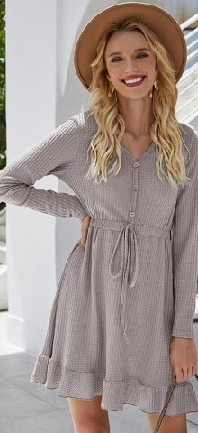 Hualong Cute Button Front Wrap Gray Long Sleeve Dress