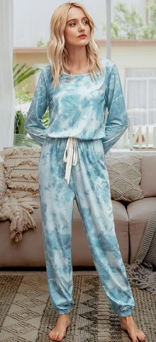 Hualong Cute Color Printed Wrap Blue Womens Long Sleeve Jumpsuit