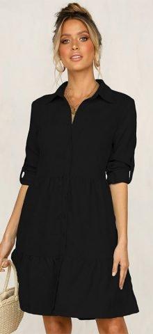 Hualong Cute Half Sleeve Black Button Front Midi Dress