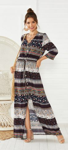Hualong Cute Half Sleeve Floral Printed Brown Beach Maxi Dress