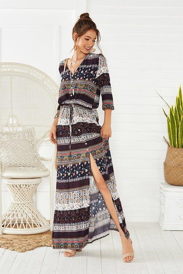 Hualong Cute Half Sleeve Floral Printed Brown Beach Maxi Dress