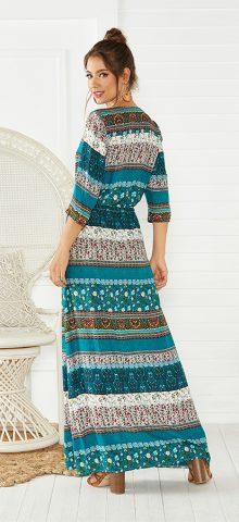Hualong Cute Half Sleeve Floral Printed Green Beach Maxi Dress