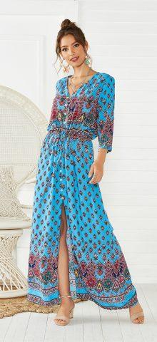 Hualong Cute Half Sleeve Floral Printed Lake Blue Beach Maxi Dress