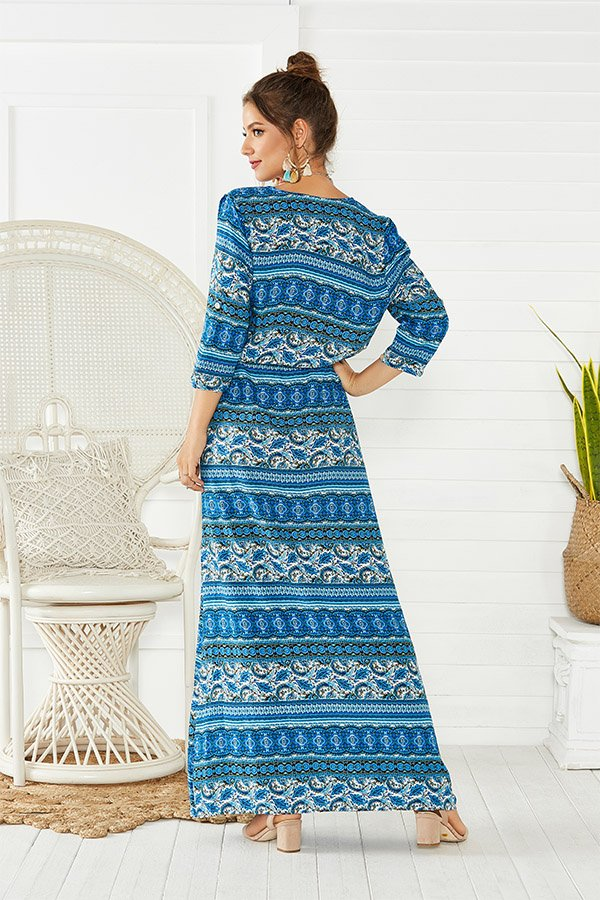 Hualong Cute Half Sleeve Floral Printed Stripe Beach Maxi Dress