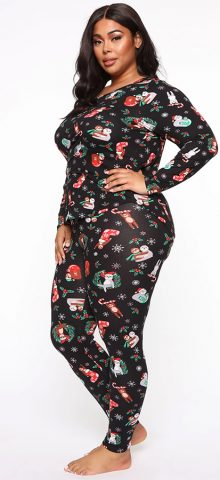 Hualong Cute Long Sleeve Black Printed Women Plus Size Pajamas
