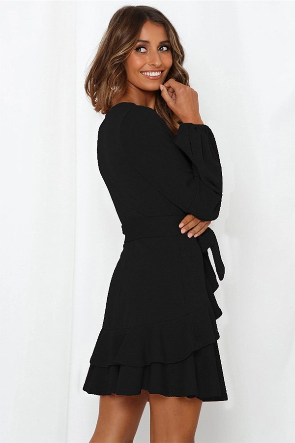 Hualong Cute Long Sleeve V Neck Black Ruffle Wrap Dress