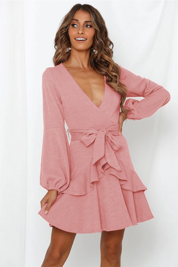 Hualong Cute Long Sleeve V Neck Short Pink Ruffle Dress
