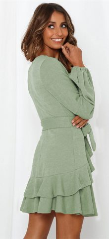 Hualong Cute Long Sleeve V Neck Wrap Green Ruffle Dress