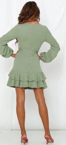 Hualong Cute Long Sleeve V Neck Wrap Green Ruffle Dress