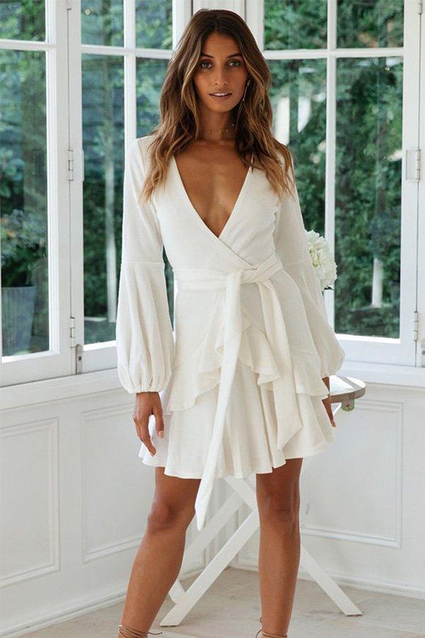 Hualong Cute Long Sleeve V Neck Wrap White Ruffle Dress