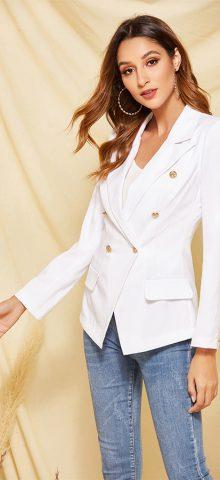 Hualong Cute Long Sleeve Winter Cheap Woman White Blazer