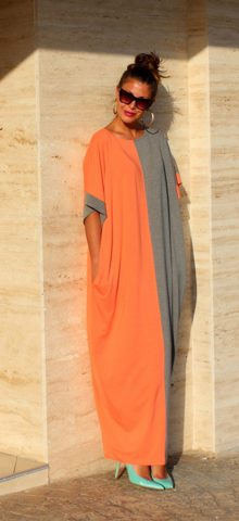 Hualong Cute Loose Short Sleeve Color Block Maxi Dress