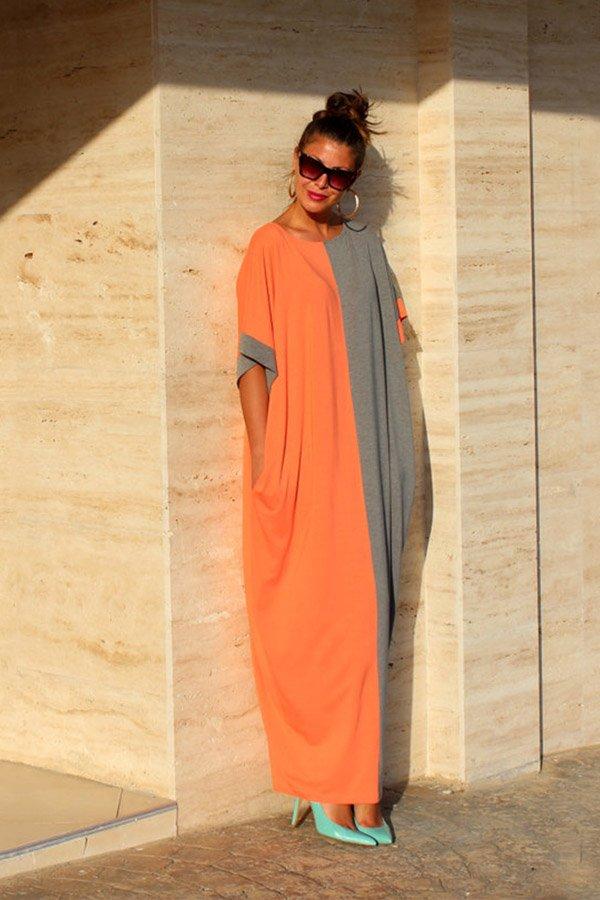 Hualong Cute Loose Short Sleeve Color Block Maxi Dress
