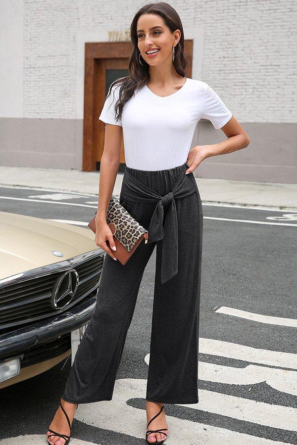 Hualong Cute Middle Waist Wrap Black Wide Leg Trousers