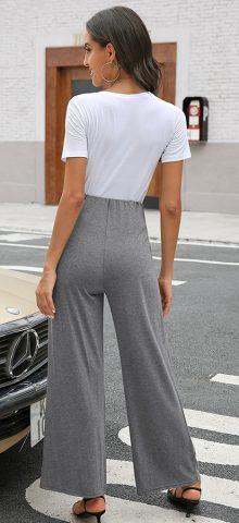 Hualong Cute Middle Waist Wrap Gray Women Wide Leg Pant