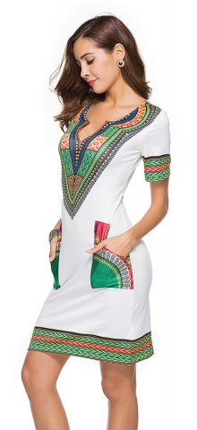 Hualong Cute Printed Short Sleeve Short Bodycon Dresses