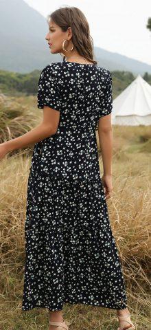 Hualong Cute Printed Short Sleeve V Neck Black Boho Maxi Dress