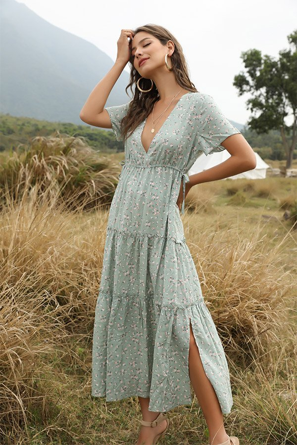 Hualong Cute Printed Short Sleeve V Neck Green Boho Maxi Dress