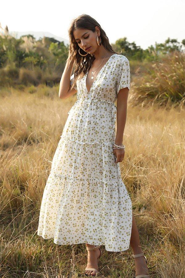 Hualong Cute Printed Short Sleeve V Neck White Boho Maxi Dress