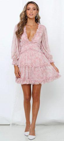 Hualong Cute Printed V Neck Puff Sleeve Midi Dress