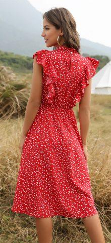 Hualong Cute Red High Neck Polka Dot Ruffle Sleeve Dress
