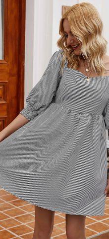 Hualong Cute Short Sleeve Black Striped T Shirt Dress