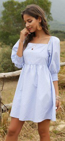 Hualong Cute Short Sleeve Blue And White Striped Dress