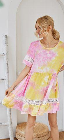 Hualong Cute Short Sleeve Color Printed Short Summer Dress