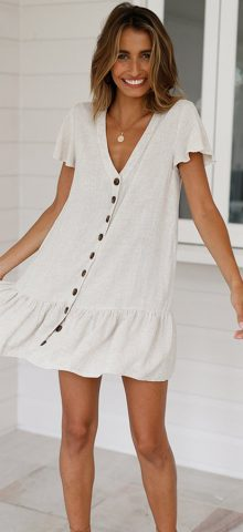 Hualong Cute Short Sleeve V Neck White Button Down Dress