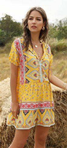 Hualong Cute Short Sleeve V Neck Womens Floral Romper