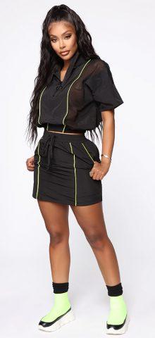 Hualong Cute Short sleeve Zipper Front Black Summer Two Piece Sets