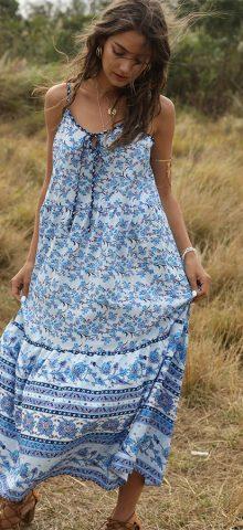 Hualong Cute Strap Sleeveless Boho Floral Dress