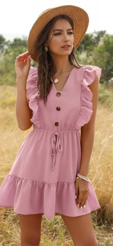 Hualong Cute V Neck Button Front Short Pink Ruffle Wrap Dress