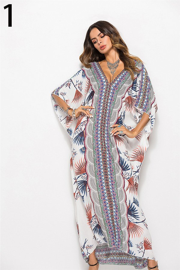 Hualong Cute V Neck Printed Plus Size Dolman Sleeve Dress