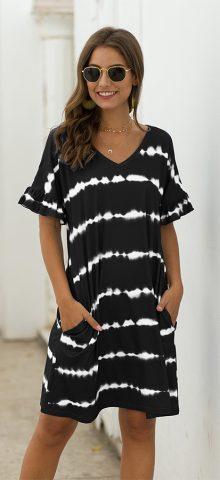 Hualong Cute V Neck Short Sleeve Pocket Black Striped Shirt Dress